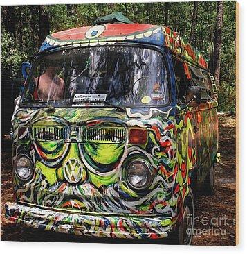 Garcia Vw Bus Wood Print by Angela Murray