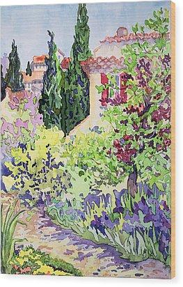 Garden At Vaison Wood Print by Julia Gibson