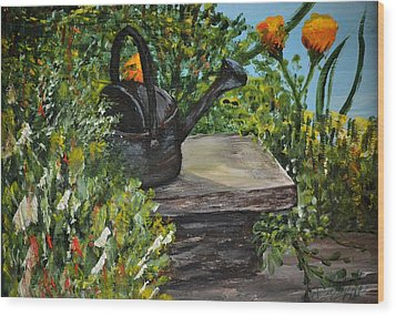 Wood Print featuring the painting Garden Bench by Debbie Baker