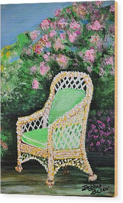 Wood Print featuring the painting Garden Chair by Debbie Baker