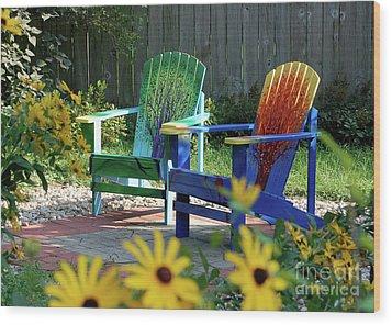 Garden Chairs Wood Print by First Star Art