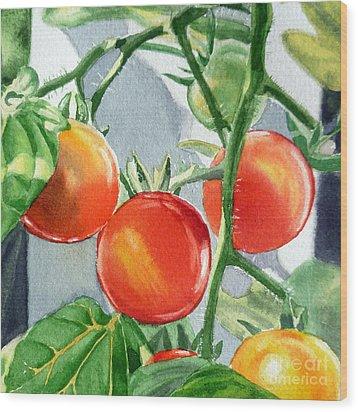 Garden Cherry Tomatoes  Wood Print by Irina Sztukowski
