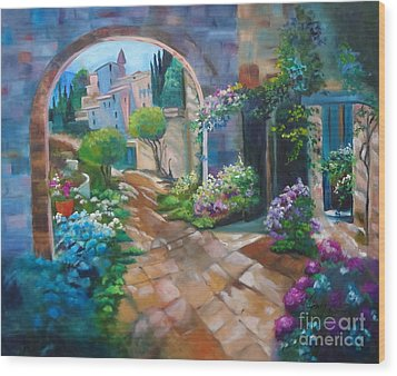Garden Courtyard Wood Print