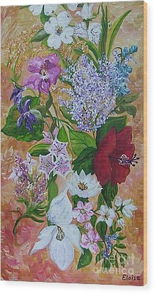 Wood Print featuring the painting Garden Delight by Eloise Schneider