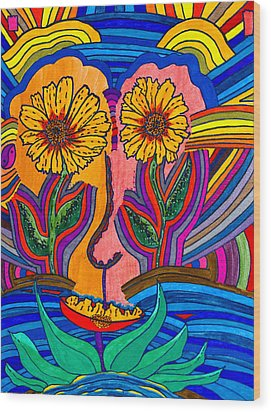 Garden Face - Lotus Pond - Daisy Eyes Wood Print