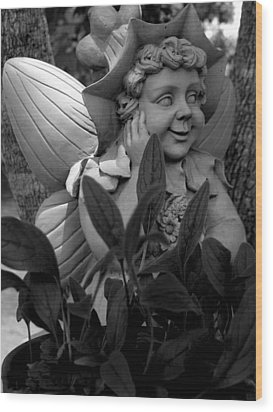 Garden Fairy Statue Wood Print by Lesa Fine