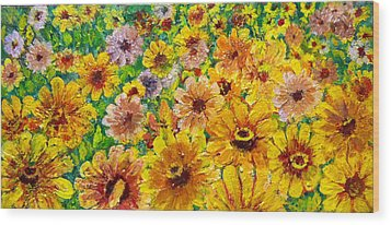 Garden Flowers Wood Print by Don Thibodeaux