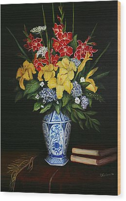 Wood Print featuring the painting Garden Flowers  by Sandra Nardone