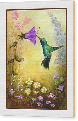 Wood Print featuring the mixed media Garden Guest by Terry Webb Harshman