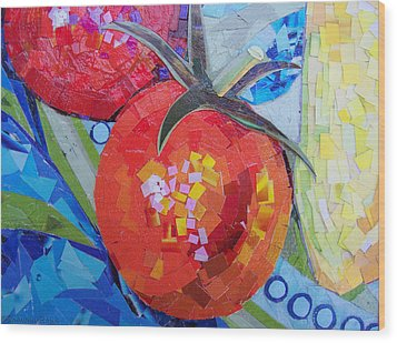 Garden Harvest Collage Detail Wood Print by Shawna Rowe