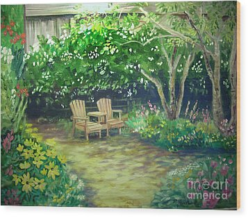 Garden In Cambria Wood Print by Don Felich