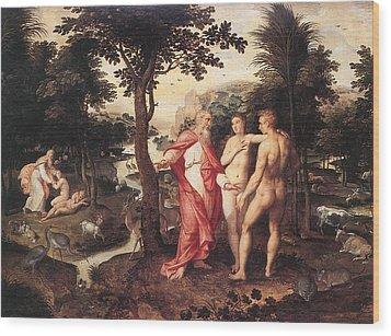 Wood Print featuring the painting Garden Of Eden - Jacob De Backer - C. 1575 by Jacob de Backer