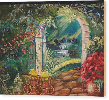 Wood Print featuring the painting Garden Of Serenity Beyond by Jenny Lee