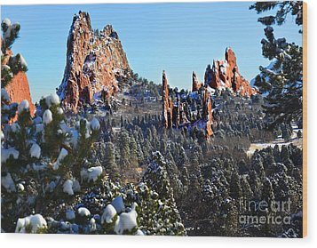 Wood Print featuring the photograph Garden Of The Gods After Snow Colorado Landscape by Jon Holiday
