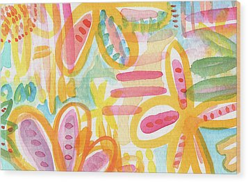 Garden Party- Abstract Flower Painting Wood Print by Linda Woods