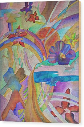 Wood Print featuring the painting Garden Path by Judy Via-Wolff