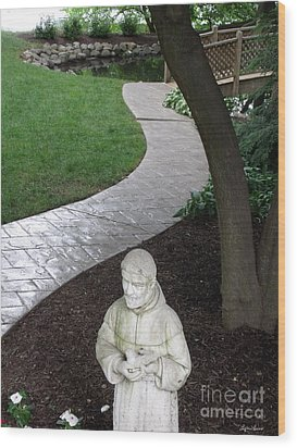 Wood Print featuring the photograph Garden Path St. Francis by Lyric Lucas