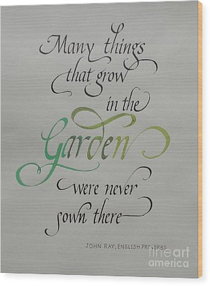 Garden Quote Wood Print by Gloria Cooper