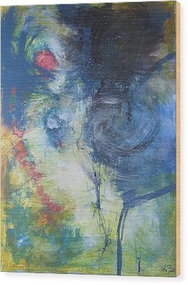 Wood Print featuring the painting Garden Rainbow Reflection by John Fish
