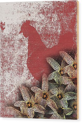 Garden Rooster Wood Print by Lesa Fine
