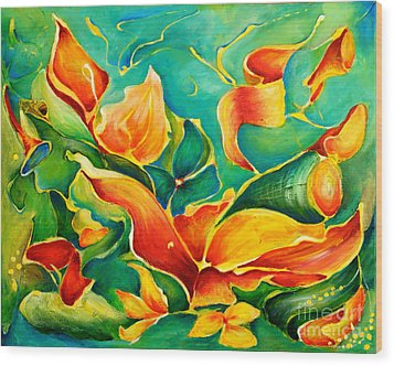 Wood Print featuring the painting Garden Series No.3 by Teresa Wegrzyn