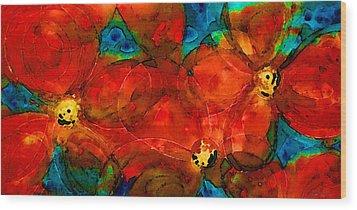 Garden Spirits - Vibrant Red Flowers By Sharon Cummings Wood Print by Sharon Cummings