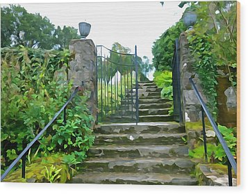 Garden Steps Wood Print by Charlie and Norma Brock