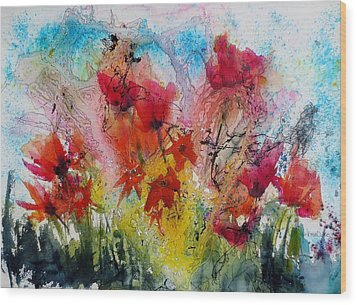 Wood Print featuring the painting Garden Tangle by Anne Duke