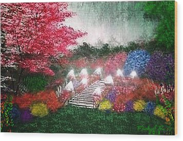 Wood Print featuring the painting Garden Terrace by Michael Rucker