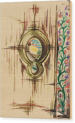 Garden Through The Key Hole Wood Print by Teresa White