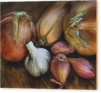 Wood Print featuring the painting Garden Vegetables  by Sharon Beth