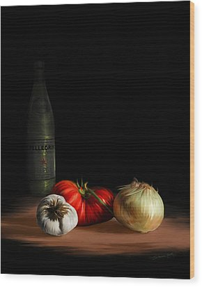 Wood Print featuring the painting Garden Vegetables With Pellegrino by Sharon Beth
