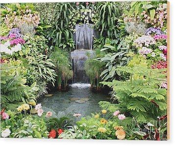 Garden Waterfall Wood Print