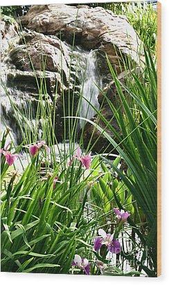Garden Waterfall Wood Print by Pattie Calfy