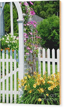 Garden With Picket Fence Wood Print by Elena Elisseeva