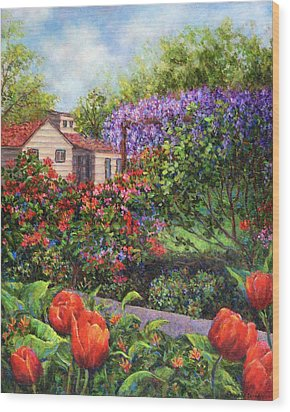 Garden With Tulips And Wisteria Wood Print by Susan Savad