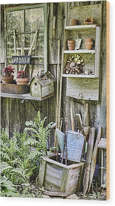 Gardener Corner Wood Print by Heather Applegate