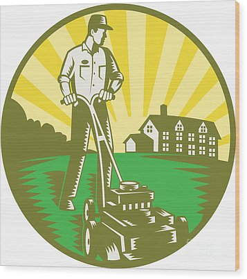 Gardener Mowing Lawn Mower Retro Wood Print by Aloysius Patrimonio