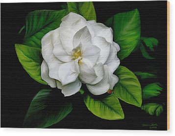 Wood Print featuring the painting Gardenia by Sharon Beth