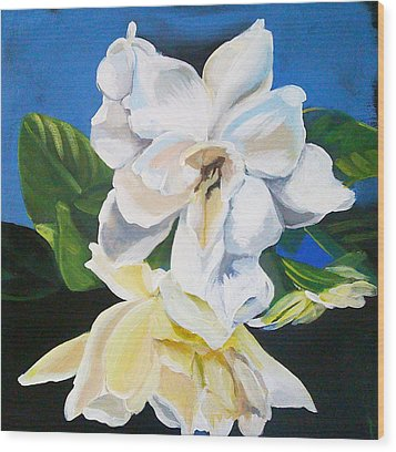 Gardenias Wood Print by Shelley Overton
