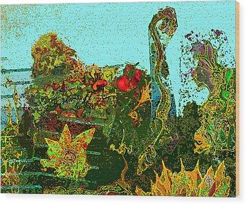 Wood Print featuring the drawing Gardone by Doug Petersen
