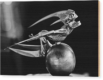 Gargoyle Hood Ornament 2 Wood Print by Jill Reger