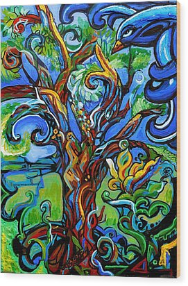 Gargoyle Tree With Crow Wood Print by Genevieve Esson