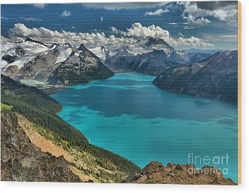 Garibaldi Lake Blues Greens And Mountains Wood Print by Adam Jewell