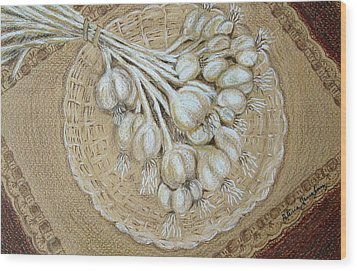 Wood Print featuring the drawing Garlic by Patricia Januszkiewicz