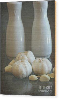Garlic Vinegar And Oil Wood Print by Sophie Vigneault