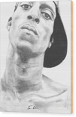 Wood Print featuring the drawing Garnett 3 by Tamir Barkan