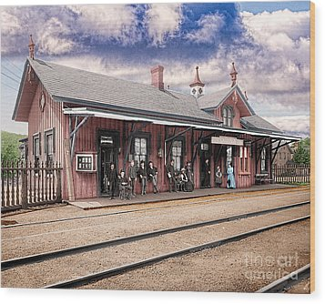Garrison Train Station Colorized Wood Print