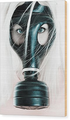 Gas Mask Wood Print by Jt PhotoDesign