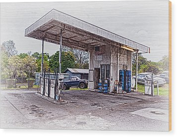 Wood Print featuring the photograph Gasoline Station by Jim Thompson